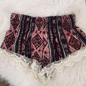 Aztec Print Lace Shorts
